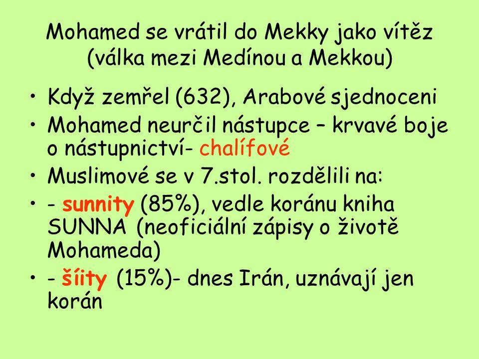 Mohamed se vrátil do Mekky jako vítěz (válka mezi Medínou a Mekkou) Když zemřel (632), Arabové sjednoceni Mohamed neurčil nástupce – krvavé boje o nástupnictví- chalífové Muslimové se v 7.stol.