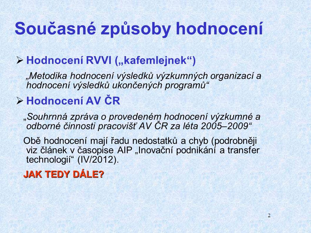 3 Projekt IPn Metodika Hlavní problémy Hlavní problémy:  neustálé posuny zahájení a ukončení projektu,  rizikovost řešení nalezených nezávislými a velmi nákladnými projekty (viz Mezinárodní audit výzkumu, vývoje a inovací v ČR a implementace jeho výsledků do strategických dokumentů a Aktualizace NP VaVaI ČR 2009-15 v r.
