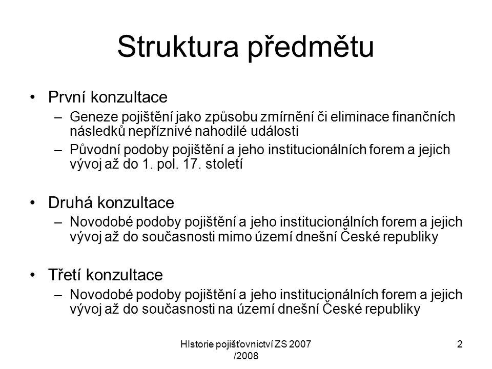 HIstorie pojišťovnictví ZS 2007 /2008 13 Příklady počátečních forem pojištění 7 obdobípředmět či produkt pojištění pojistitelpojistníkpoznámka (?) - první tisíciletí n.l.