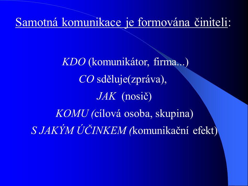 Samotná komunikace je formována činiteli: KDO (komunikátor, firma...) CO sděluje(zpráva), JAK (nosič) KOMU (cílová osoba, skupina) S JAKÝM ÚČINKEM (ko