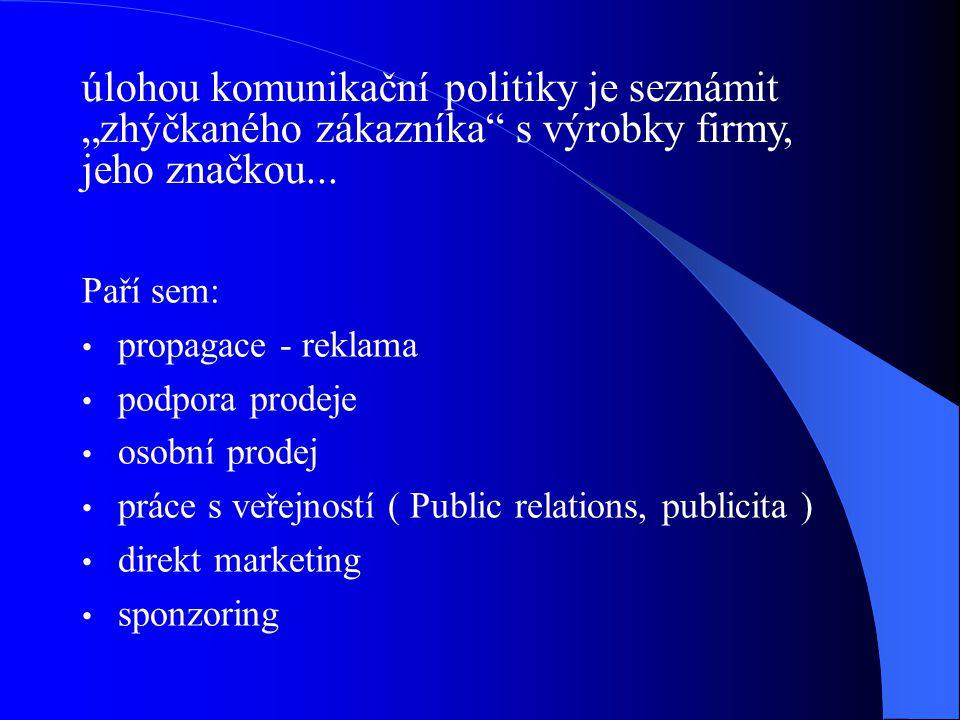 Přehledně lze hlavní části komunikačního mixu uvést v následujících tabulkách: Propagacepoznámka CÍLPasivní ovlivnění potřeb a cílové skupiny zákazníků CÍLOVÁ SKUPINA Přesně definovaná cílová skupina (osob) nebo tržní segment NOSIČ KOMUNIKACE Noviny, časopisy, televize, rozhlas, plakáty, poutače DOBA ÚČINKUKrátkodobá, střednědobá