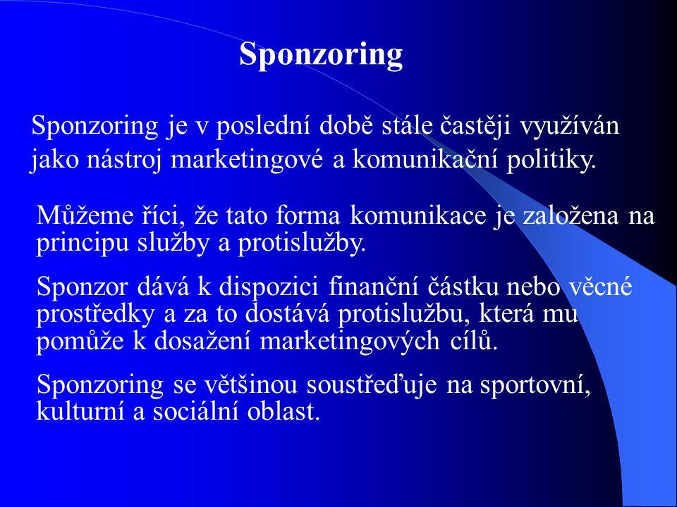 Sponzoring Sponzoring je v poslední době stále častěji využíván jako nástroj marketingové a komunikační politiky. Můžeme říci, že tato forma komunikac