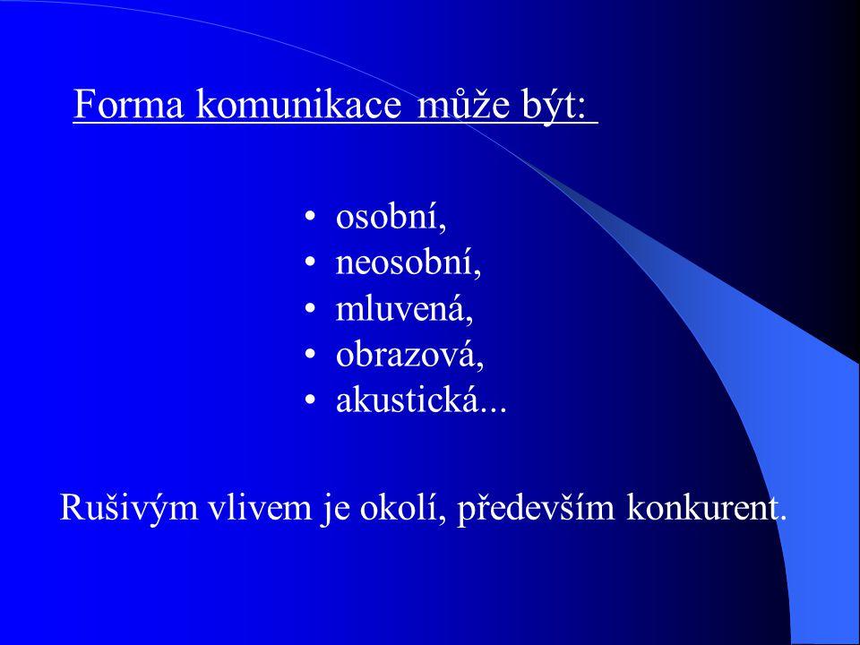 Samotná komunikace je formována činiteli: KDO (komunikátor, firma...) CO sděluje(zpráva), JAK (nosič) KOMU (cílová osoba, skupina) S JAKÝM ÚČINKEM (komunikační efekt)