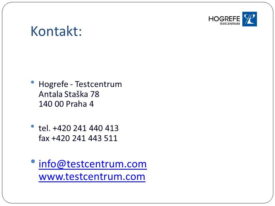 Kontakt: Hogrefe - Testcentrum Antala Staška 78 140 00 Praha 4 tel.
