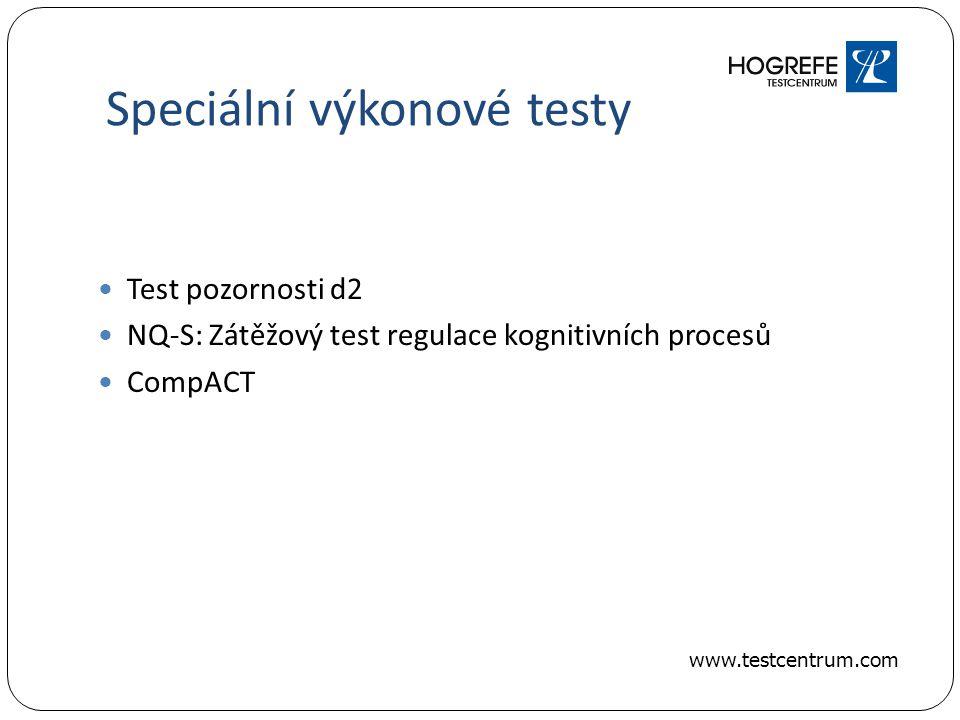Speciální výkonové testy Test pozornosti d2 NQ-S: Zátěžový test regulace kognitivních procesů CompACT www.testcentrum.com