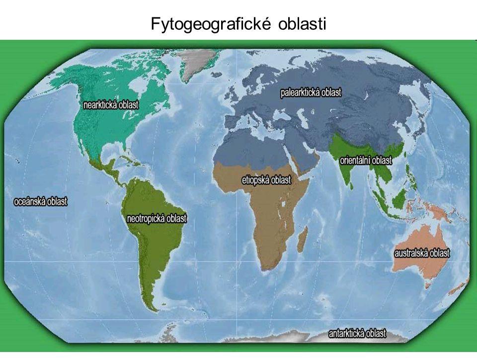 Zoogeografické oblasti = faunistické - na základě rozšíření vývojově nejvyšších živočiš- ných tříd (savců a ptáků) - 6 oblastí (5 říší) (fauna = živočišstvoFaunus = římský bůh polí a lesů) ◦ Holarktická (Artogea)= 1, 2 rozlohou největší (54 % souše) - většina severní polokoule podoblasti: nearktická (= 1; Severní Amerika po střední Mexiko - arktické ostrovy - Grónsko) puma, medvěd (grizzly, mýval, baribal = černý), bizon, chřestýš, dikobraz, aligátor, sob (karibu), jelen wapiti (elk) palearktická (= 2; Evropa - severní Afrika - Asie bez jižní a jihovýchodní) ježek, sobol, zubr, medvěd hnědý, tarbík, velbloud, tygr, liška, vlk, rys, jelen, srnec, křeček, kůň Převalského (tachi)