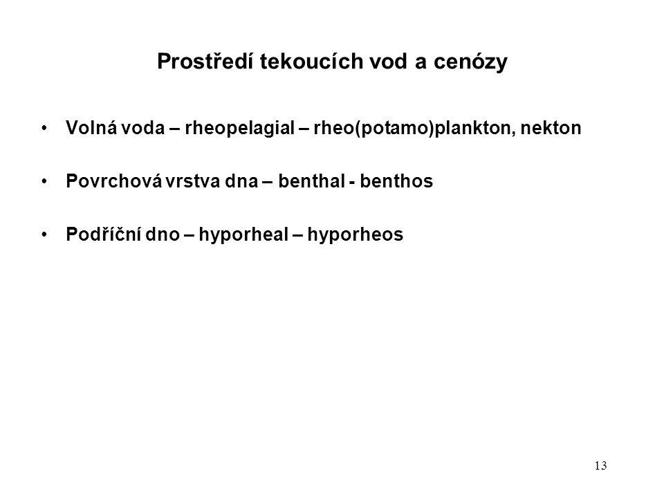 13 Prostředí tekoucích vod a cenózy Volná voda – rheopelagial – rheo(potamo)plankton, nekton Povrchová vrstva dna – benthal - benthos Podříční dno – h