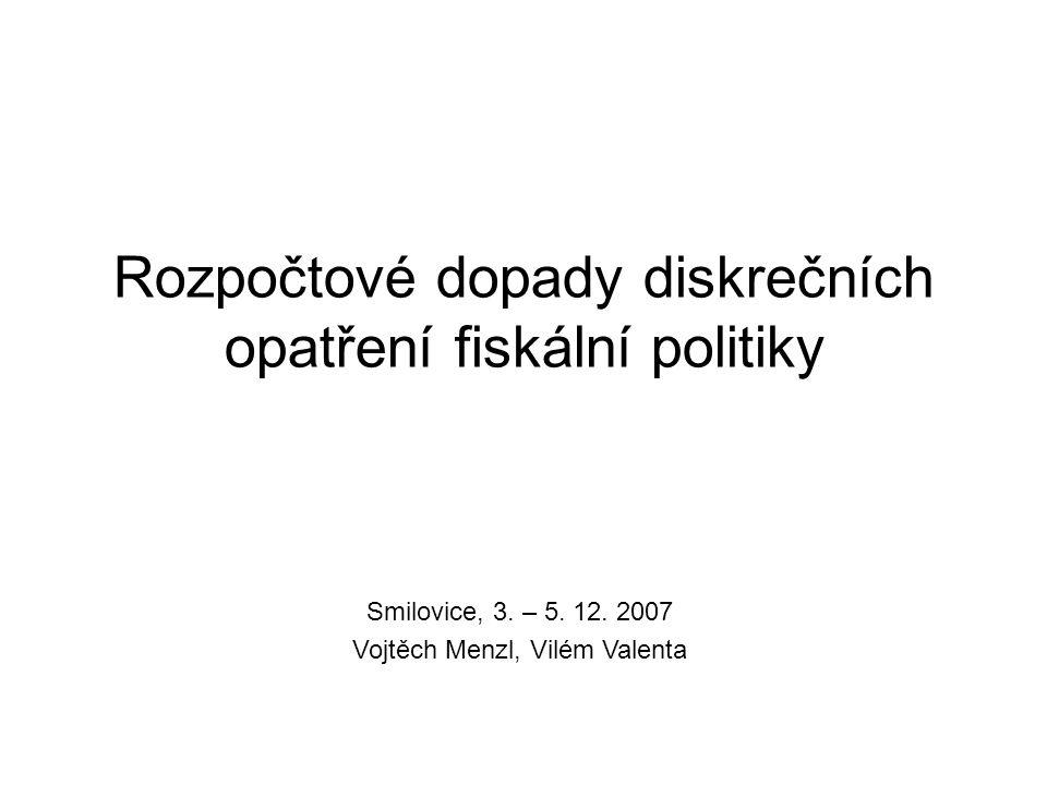 Rozpočtové dopady diskrečních opatření fiskální politiky Smilovice, 3. – 5. 12. 2007 Vojtěch Menzl, Vilém Valenta