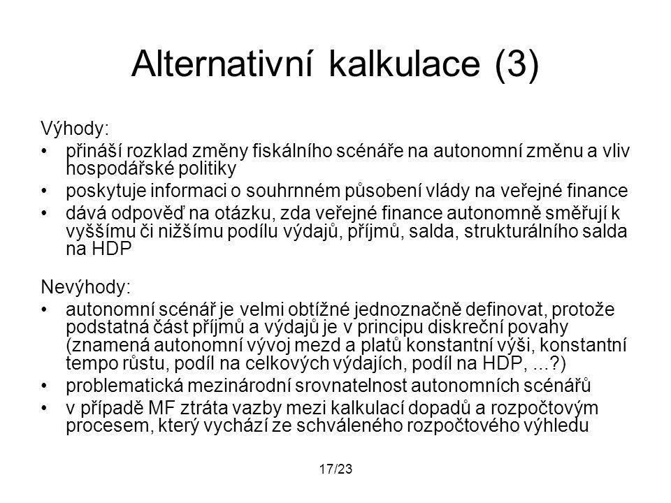 17/23 Alternativní kalkulace (3) Výhody: přináší rozklad změny fiskálního scénáře na autonomní změnu a vliv hospodářské politiky poskytuje informaci o