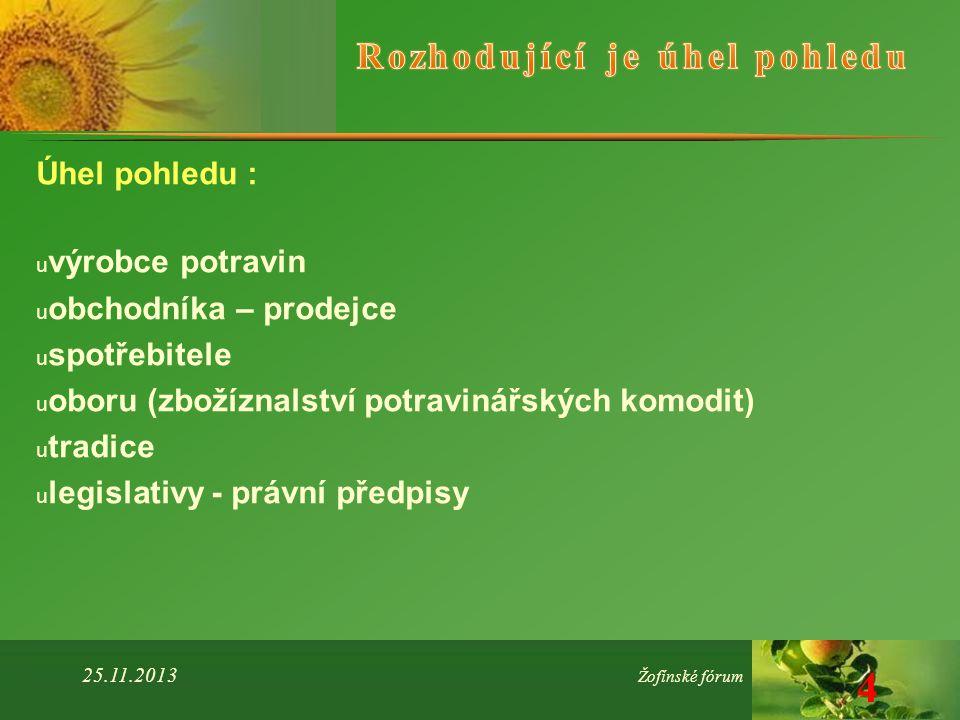 Úhel pohledu : u výrobce potravin u obchodníka – prodejce u spotřebitele u oboru (zbožíznalství potravinářských komodit) u tradice u legislativy - právní předpisy 25.11.2013 Žofínské fórum 4