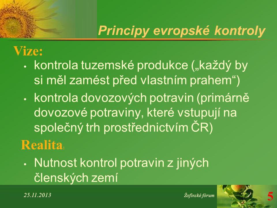 """Principy evropské kontroly kontrola tuzemské produkce (""""každý by si měl zamést před vlastním prahem ) kontrola dovozových potravin (primárně dovozové potraviny, které vstupují na společný trh prostřednictvím ČR) Nutnost kontrol potravin z jiných členských zemí 25.11.2013 Žofínské fórum 5 Vize: Realita :"""