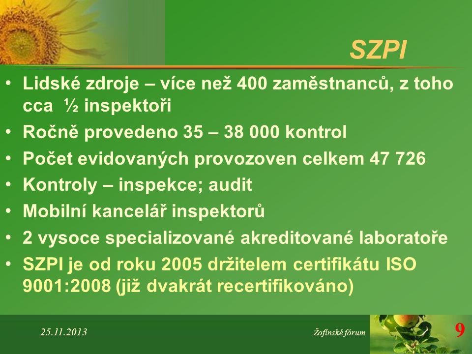 SZPI Lidské zdroje – více než 400 zaměstnanců, z toho cca ½ inspektoři Ročně provedeno 35 – 38 000 kontrol Počet evidovaných provozoven celkem 47 726 Kontroly – inspekce; audit Mobilní kancelář inspektorů 2 vysoce specializované akreditované laboratoře SZPI je od roku 2005 držitelem certifikátu ISO 9001:2008 (již dvakrát recertifikováno) 25.11.2013 Žofínské fórum 9
