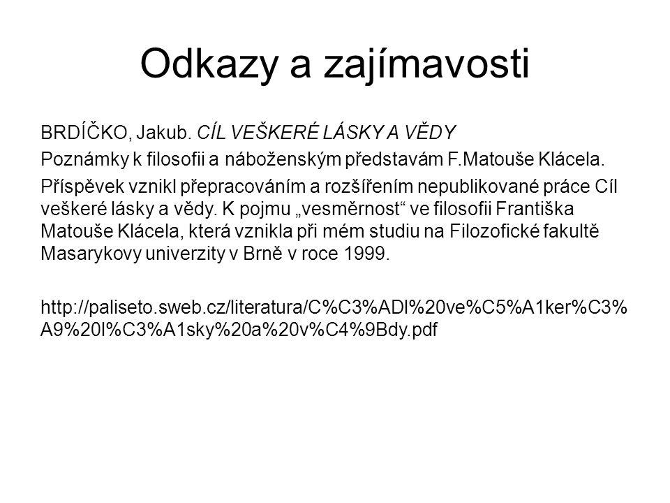 Odkazy a zajímavosti BRDÍČKO, Jakub.