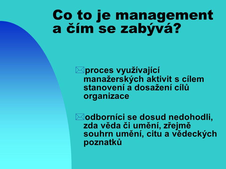 Kdo je to manažer ?  člověk, který realizuje aktivity manažerské práce Jaké jsou charakteristiky manažera?  Technické, koncepční, lidské Jaké dovedn
