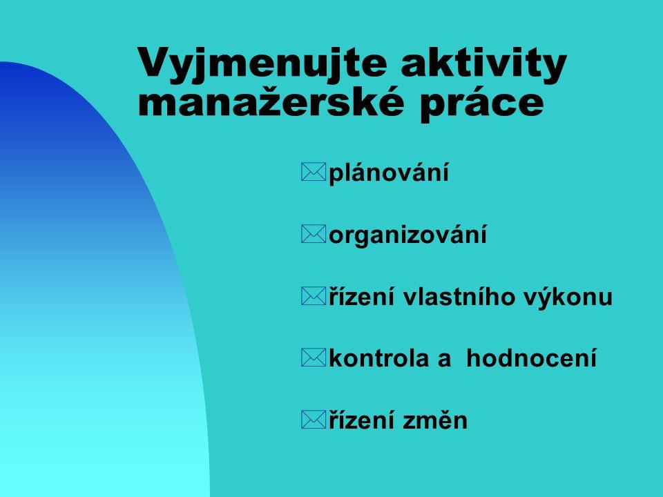 Vyjmenujte aktivity manažerské práce *plánování *organizování *řízení vlastního výkonu *kontrola a hodnocení *řízení změn