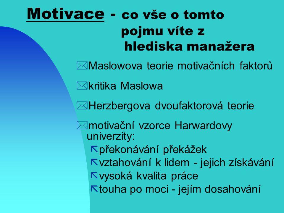 Motivace - co vše o tomto pojmu víte z hlediska manažera *sekvence motivačního řetězce: ãrozeznání potřeb ãhledání a výběr chování k uspokojení potřeb