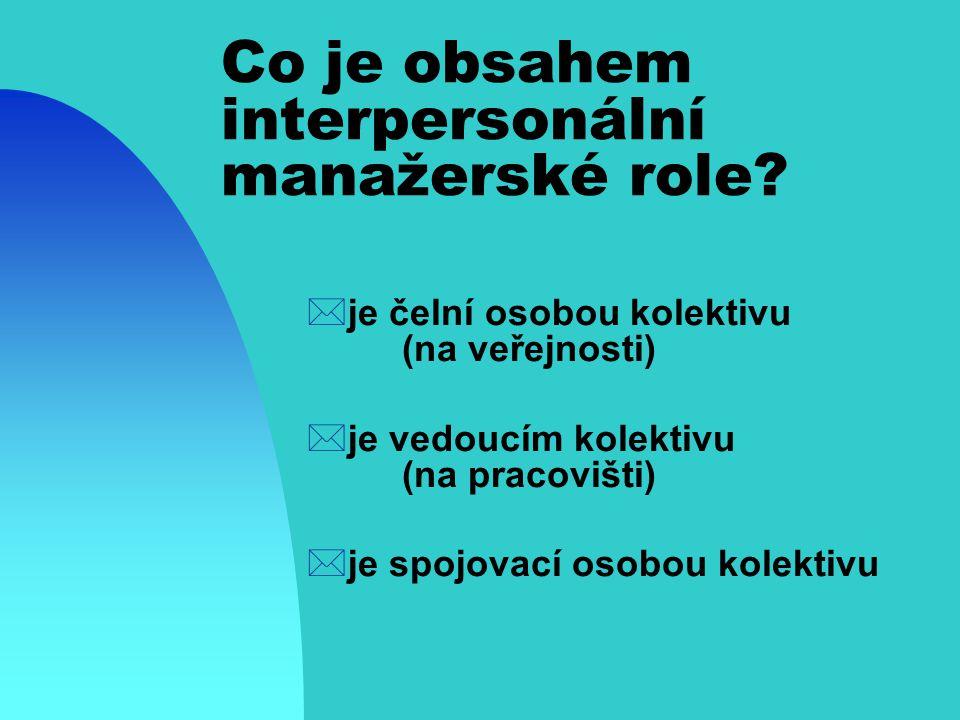 Co je obsahem interpersonální manažerské role.
