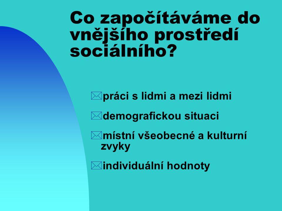 Co započítáváme do vnějšího prostředí sociálního.