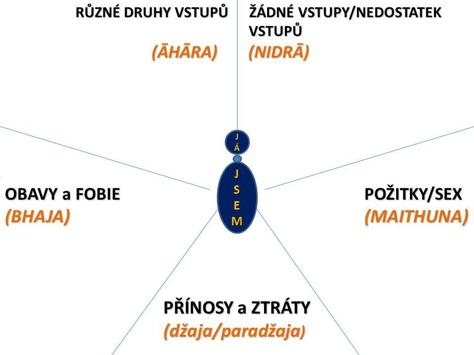 RŮZNÉ DRUHY VSTUPŮ ŽÁDNÉ VSTUPY/NEDOSTATEK VSTUPŮ (ĀHĀRA) (NIDRĀ) OBAVY a FOBIE POŽITKY/SEX (BHAJA) (MAITHUNA) PŘÍNOSY a ZTRÁTY (džaja/paradžaja ) RŮZNÉ DRUHY VSTUPŮ ŽÁDNÉ VSTUPY/NEDOSTATEK VSTUPŮ (ĀHĀRA) (NIDRĀ) OBAVY a FOBIE POŽITKY/SEX (BHAJA) (MAITHUNA) PŘÍNOSY a ZTRÁTY (džaja/paradžaja ) JÁJÁ JSEM