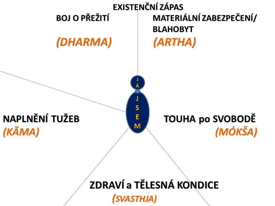 EXISTENČNÍ ZÁPAS BOJ O PŘEŽITÍ MATERIÁLNÍ ZABEZPEČENÍ/ BLAHOBYT (DHARMA) (ARTHA) NAPLNĚNÍ TUŽEB TOUHA po SVOBODĚ (KĀMA) (MÓKŠA) ZDRAVÍ a TĚLESNÁ KONDICE ( SVASTHJA) EXISTENČNÍ ZÁPAS BOJ O PŘEŽITÍ MATERIÁLNÍ ZABEZPEČENÍ/ BLAHOBYT (DHARMA) (ARTHA) NAPLNĚNÍ TUŽEB TOUHA po SVOBODĚ (KĀMA) (MÓKŠA) ZDRAVÍ a TĚLESNÁ KONDICE ( SVASTHJA) JSEM JÁJÁ