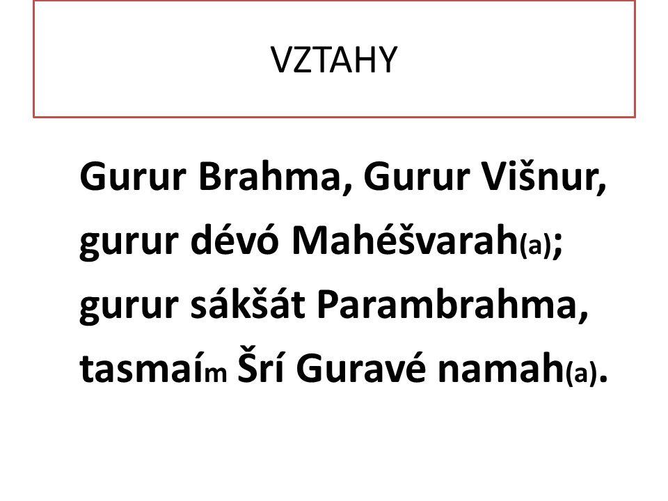 VZTAHY Gurur Brahma, Gurur Višnur, gurur dévó Mahéšvarah (a) ; gurur sákšát Parambrahma, tasmaí m Šrí Guravé namah (a).