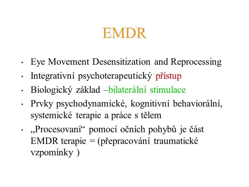 EMDR Eye Movement Desensitization and Reprocessing Integrativní psychoterapeutický přístup Biologický základ –bilaterální stimulace Prvky psychodynami
