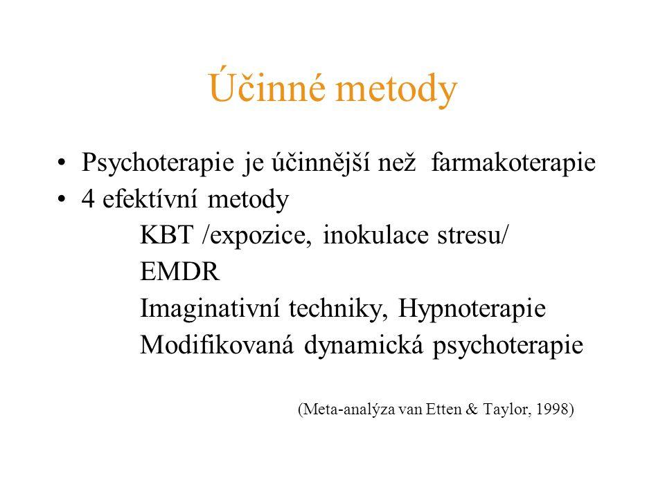 Účinné metody Psychoterapie je účinnější než farmakoterapie 4 efektívní metody KBT /expozice, inokulace stresu/ EMDR Imaginativní techniky, Hypnoterap