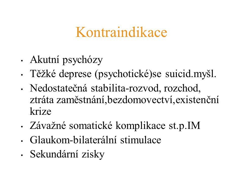 Kontraindikace Akutní psychózy Těžké deprese (psychotické)se suicid.myšl. Nedostatečná stabilita-rozvod, rozchod, ztráta zaměstnání,bezdomovectví,exis