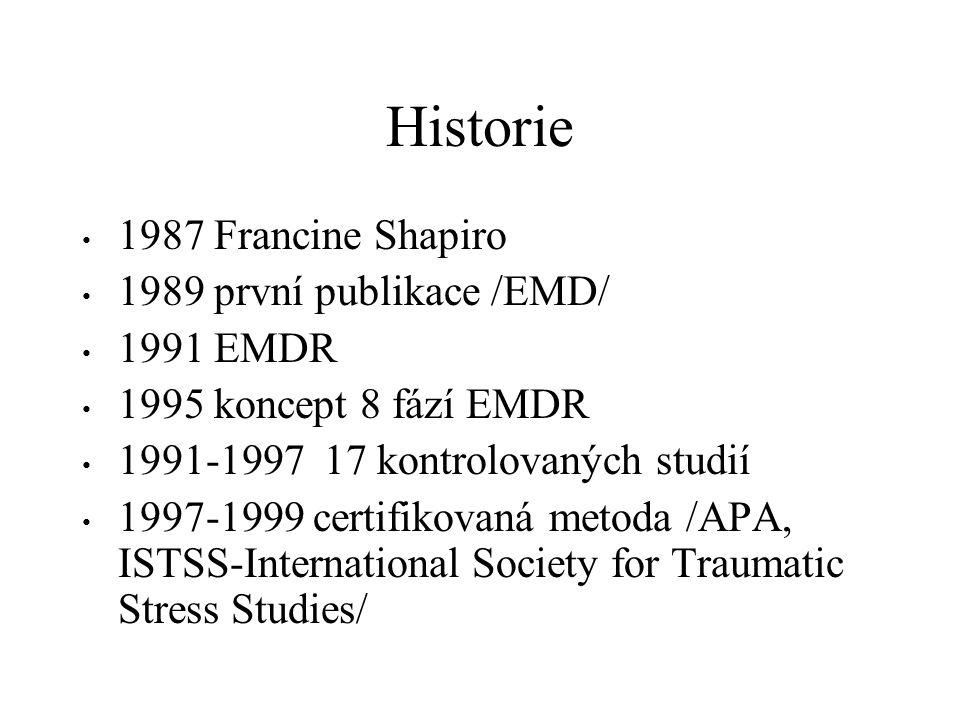 Historie 1987 Francine Shapiro 1989 první publikace /EMD/ 1991 EMDR 1995 koncept 8 fází EMDR 1991-1997 17 kontrolovaných studií 1997-1999 certifikovan