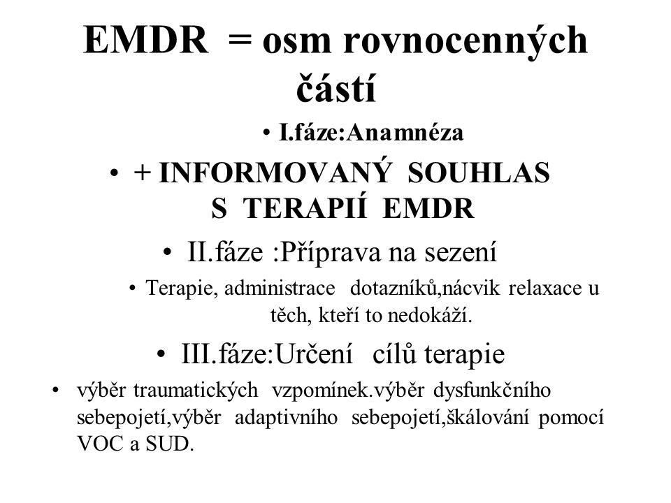 EMDR = osm rovnocenných částí I.fáze:Anamnéza + INFORMOVANÝ SOUHLAS S TERAPIÍ EMDR II.fáze :Příprava na sezení Terapie, administrace dotazníků,nácvik