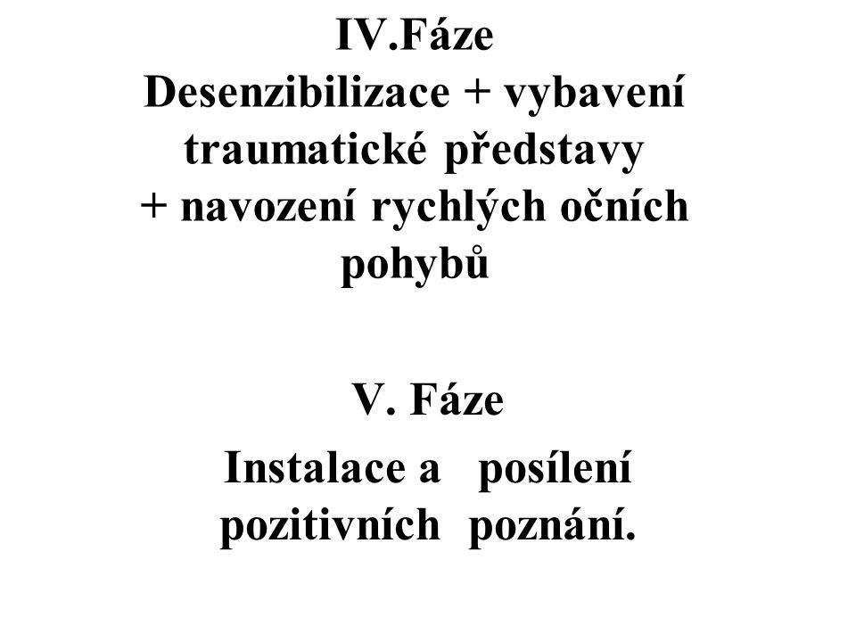 IV.Fáze Desenzibilizace + vybavení traumatické představy + navození rychlých očních pohybů V. Fáze Instalace a posílení pozitivních poznání.