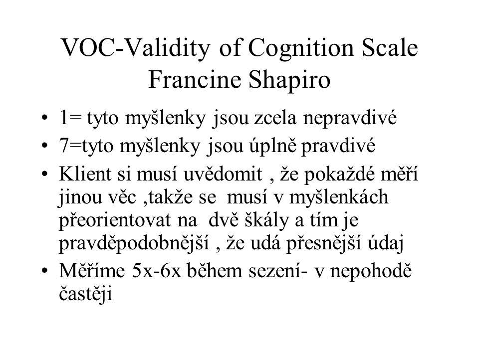 VOC-Validity of Cognition Scale Francine Shapiro 1= tyto myšlenky jsou zcela nepravdivé 7=tyto myšlenky jsou úplně pravdivé Klient si musí uvědomit, ž