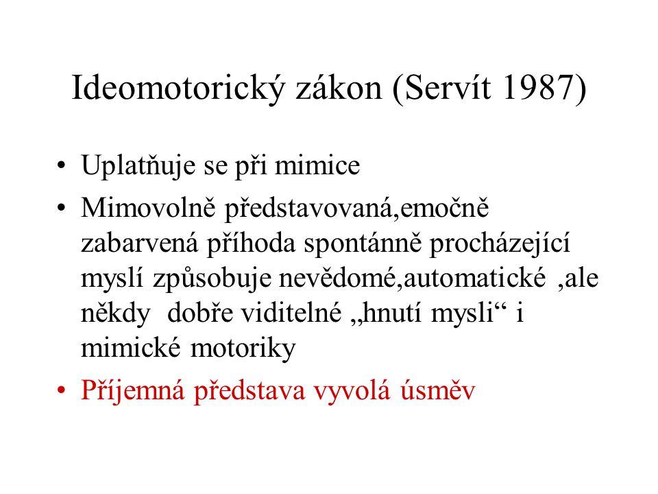 Ideomotorický zákon (Servít 1987) Uplatňuje se při mimice Mimovolně představovaná,emočně zabarvená příhoda spontánně procházející myslí způsobuje nevě