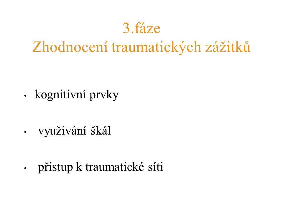 3.fáze Zhodnocení traumatických zážitků kognitivní prvky využívání škál přístup k traumatické síti