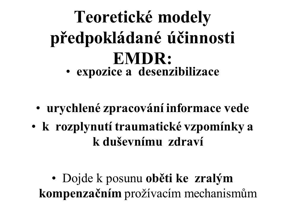 Teoretické modely předpokládané účinnosti EMDR: expozice a desenzibilizace urychlené zpracování informace vede k rozplynutí traumatické vzpomínky a k