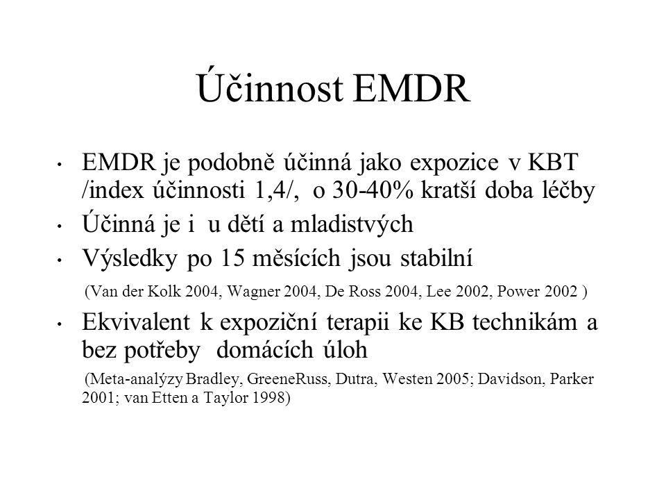 Účinnost EMDR EMDR je podobně účinná jako expozice v KBT /index účinnosti 1,4/, o 30-40% kratší doba léčby Účinná je i u dětí a mladistvých Výsledky p