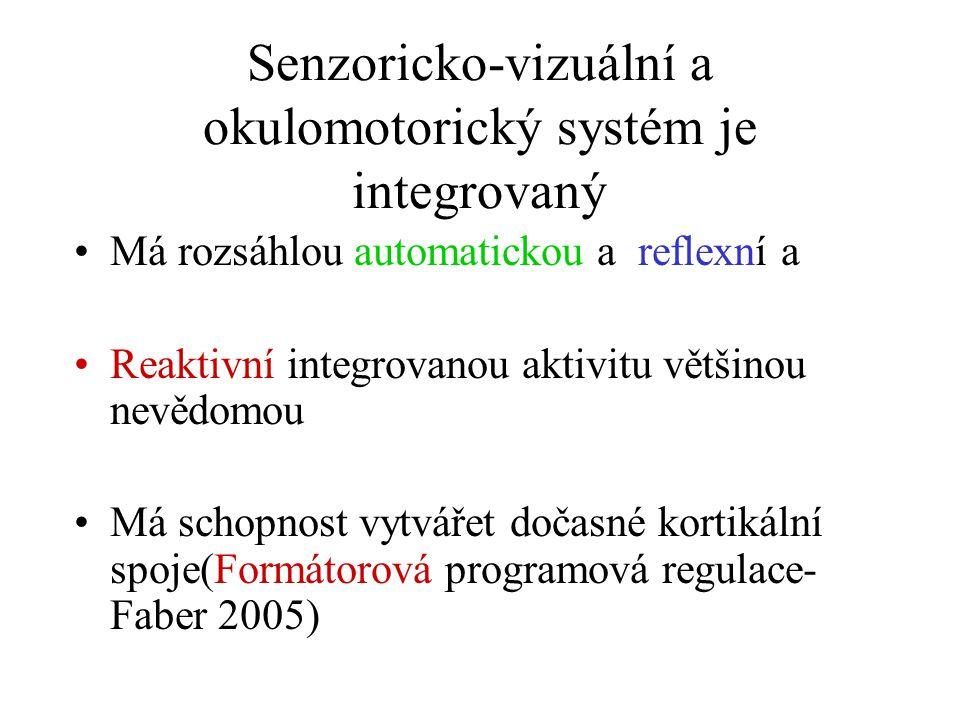 Senzoricko-vizuální a okulomotorický systém je integrovaný Má rozsáhlou automatickou a reflexní a Reaktivní integrovanou aktivitu většinou nevědomou M