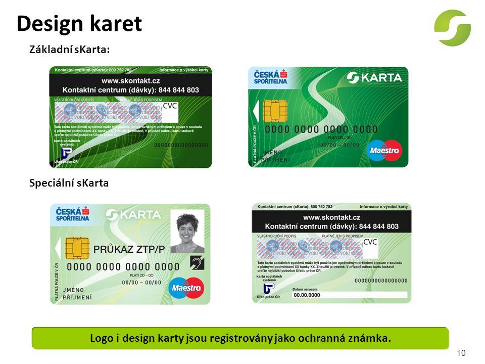 10 Design karet Základní sKarta: Speciální sKarta Logo i design karty jsou registrovány jako ochranná známka.