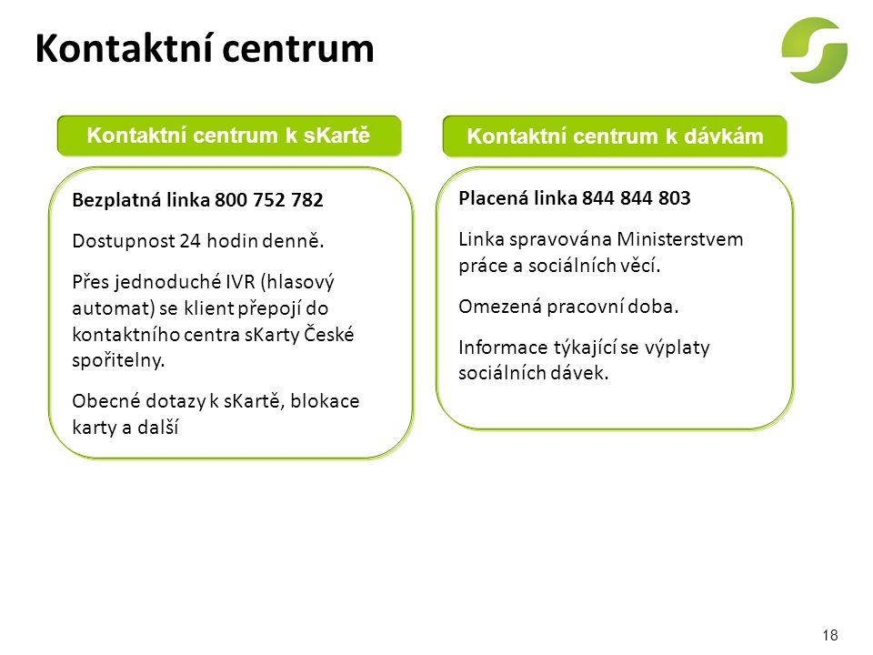18 Kontaktní centrum Kontaktní centrum k sKartě Kontaktní centrum k dávkám Bezplatná linka 800 752 782 Dostupnost 24 hodin denně. Přes jednoduché IVR