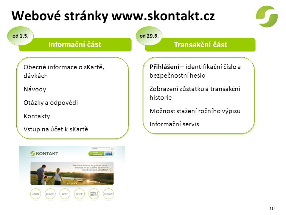 19 Webové stránky www.skontakt.cz Informační část Transakční část Obecné informace o sKartě, dávkách Návody Otázky a odpovědi Kontakty Vstup na účet k
