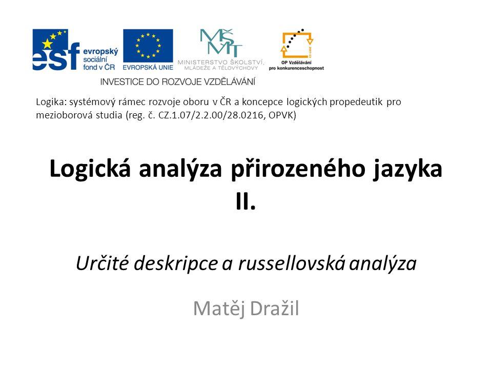 Logická analýza přirozeného jazyka II.