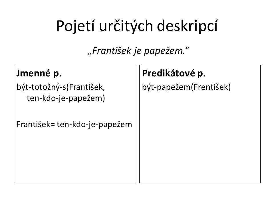 """Pojetí určitých deskripcí """"František je papežem."""" Jmenné p. být-totožný-s(František, ten-kdo-je-papežem) František= ten-kdo-je-papežem Predikátové p."""