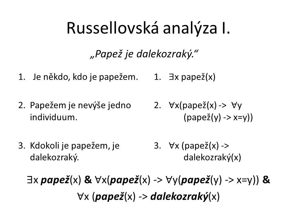 """Russellovská analýza I.""""Papež je dalekozraký. 1.Je někdo, kdo je papežem."""