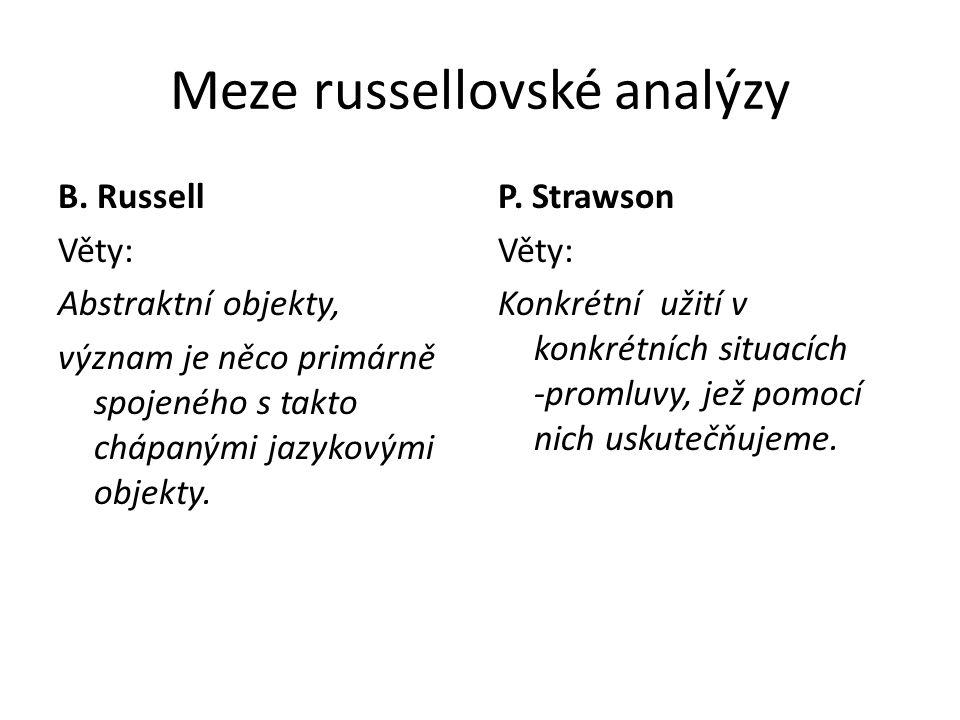 Meze russellovské analýzy B. Russell Věty: Abstraktní objekty, význam je něco primárně spojeného s takto chápanými jazykovými objekty. P. Strawson Vět