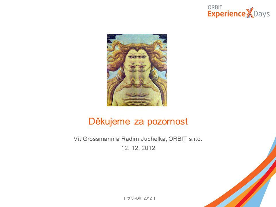 | © ORBIT 2012 | Děkujeme za pozornost Vít Grossmann a Radim Juchelka, ORBIT s.r.o. 12. 12. 2012