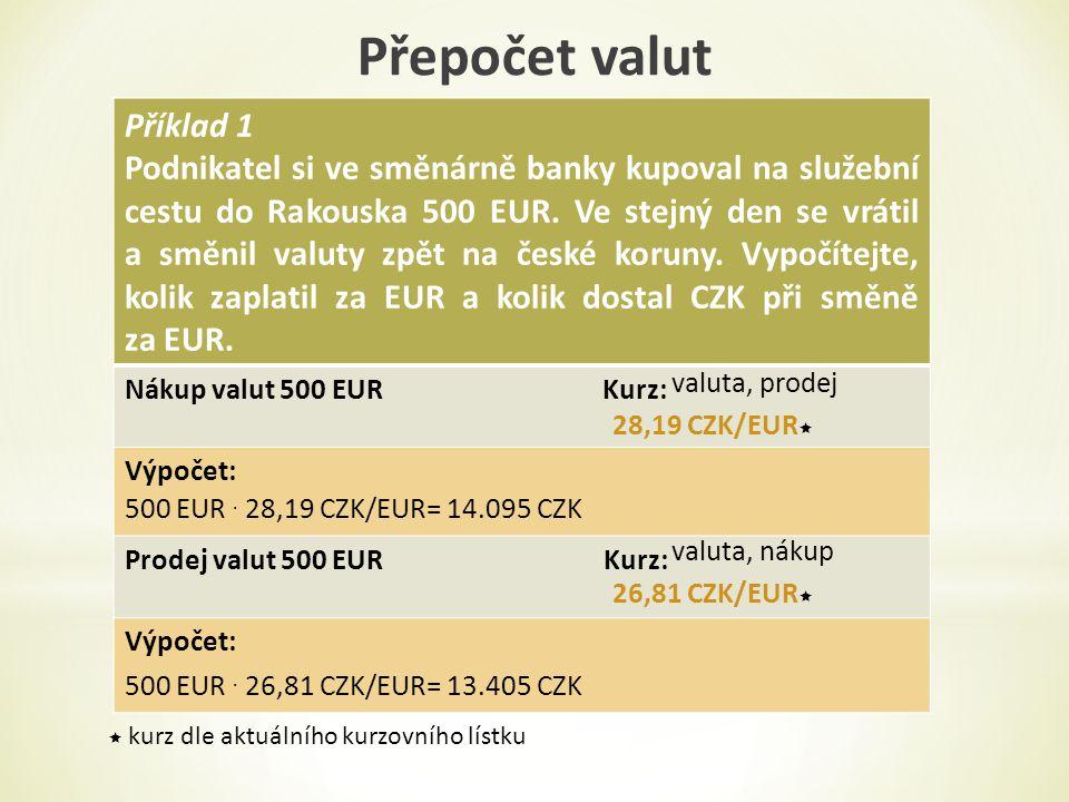 Příklad 1 Podnikatel si ve směnárně banky kupoval na služební cestu do Rakouska 500 EUR.
