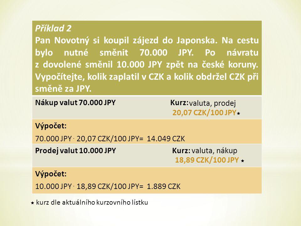 Příklad 2 Pan Novotný si koupil zájezd do Japonska.