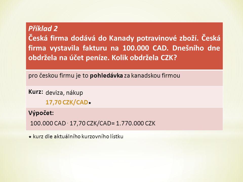 Příklad 2 Česká firma dodává do Kanady potravinové zboží.