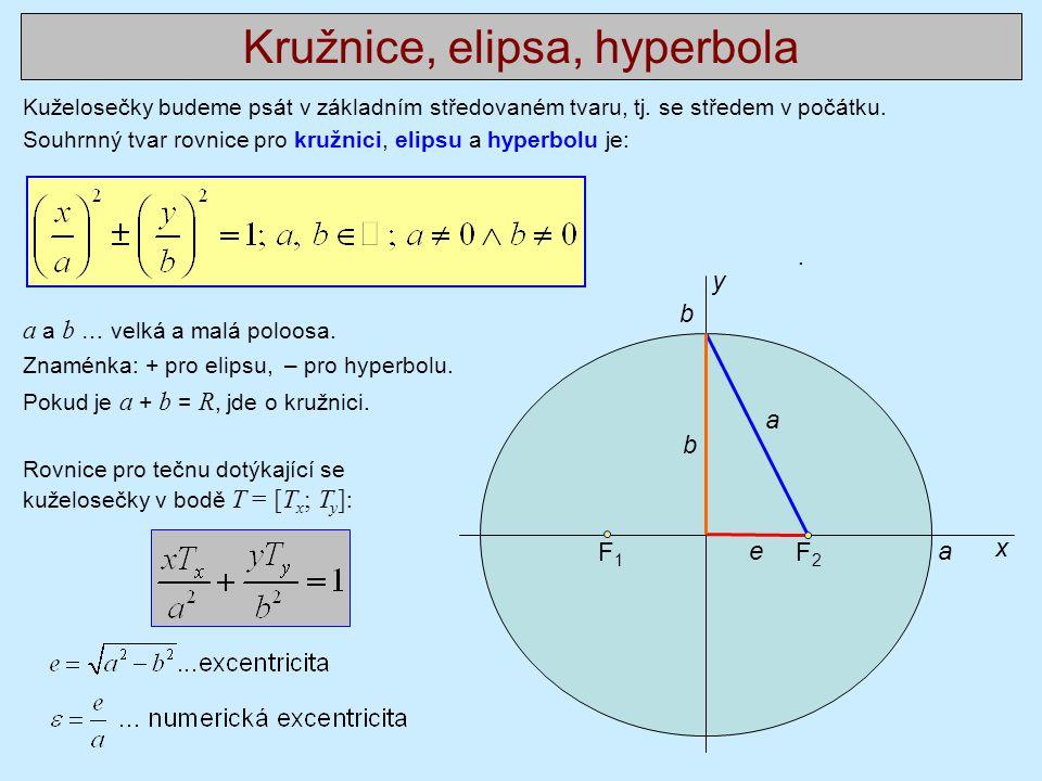Kuželosečky budeme psát v základním středovaném tvaru, tj. se středem v počátku. Souhrnný tvar rovnice pro kružnici, elipsu a hyperbolu je:. a a b … v