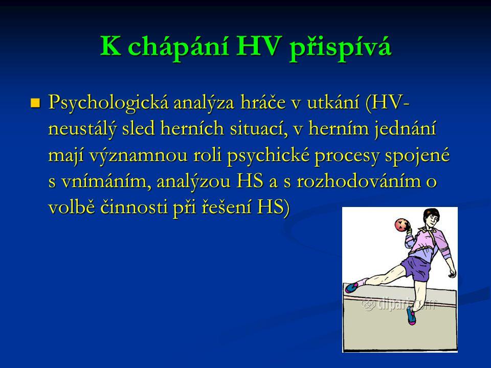 K chápání HV přispívá Psychologická analýza hráče v utkání (HV- neustálý sled herních situací, v herním jednání mají významnou roli psychické procesy spojené s vnímáním, analýzou HS a s rozhodováním o volbě činnosti při řešení HS) Psychologická analýza hráče v utkání (HV- neustálý sled herních situací, v herním jednání mají významnou roli psychické procesy spojené s vnímáním, analýzou HS a s rozhodováním o volbě činnosti při řešení HS)